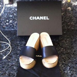 Authentic Black Chanel Mules